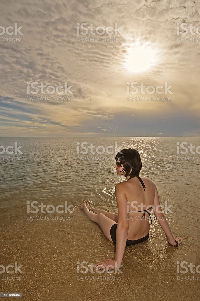Sunrise Beach Girl royalty-free stock photo
