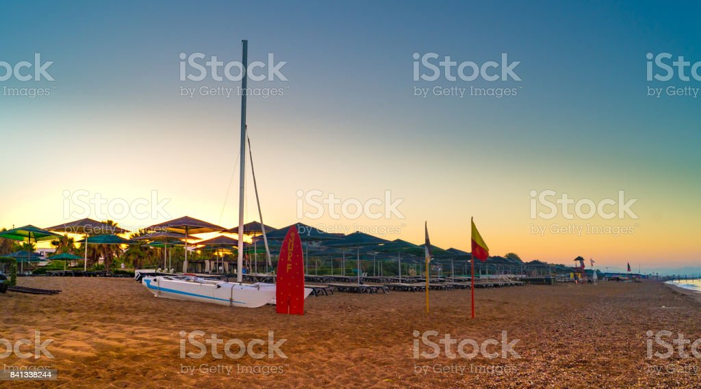 Sunrise beach stock photo