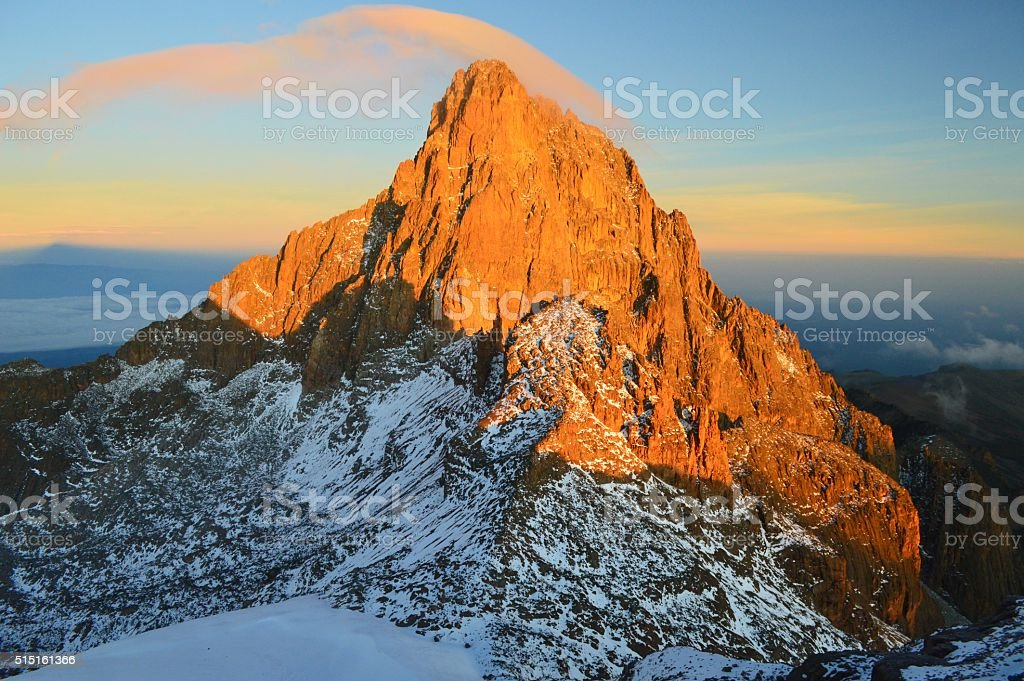 Sunrise behind Mt. Kenya stock photo