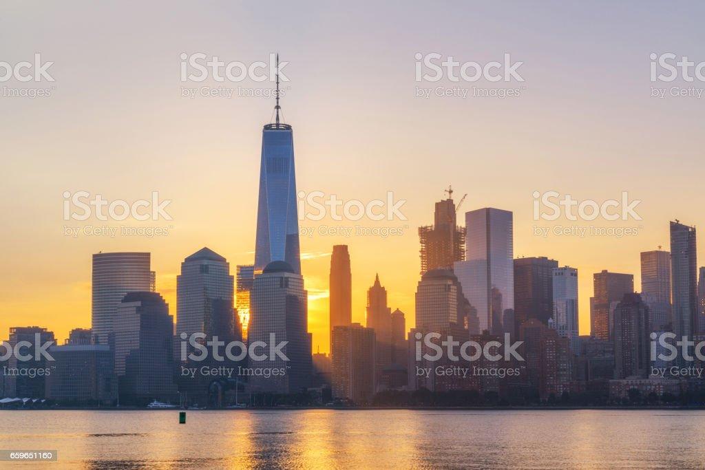 Sunrise behind the Freedom Tower stock photo