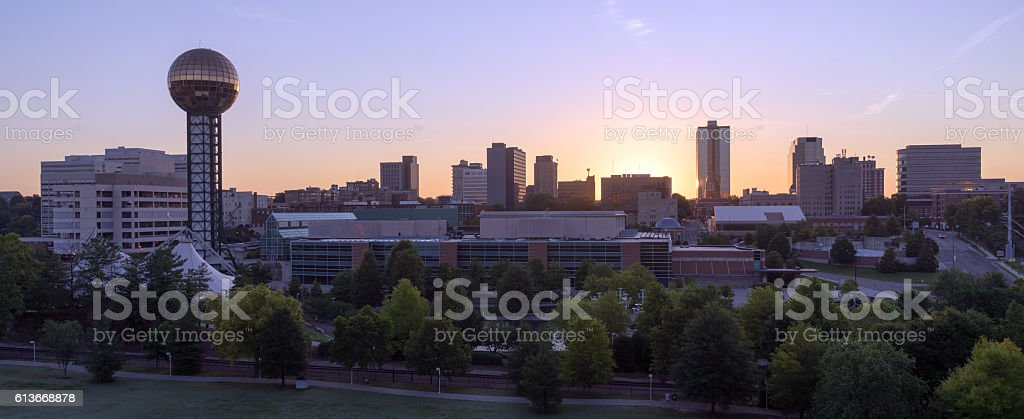 Sunrise Buildings Downtown City Skyline Knoxville Tennessee Unit stock photo