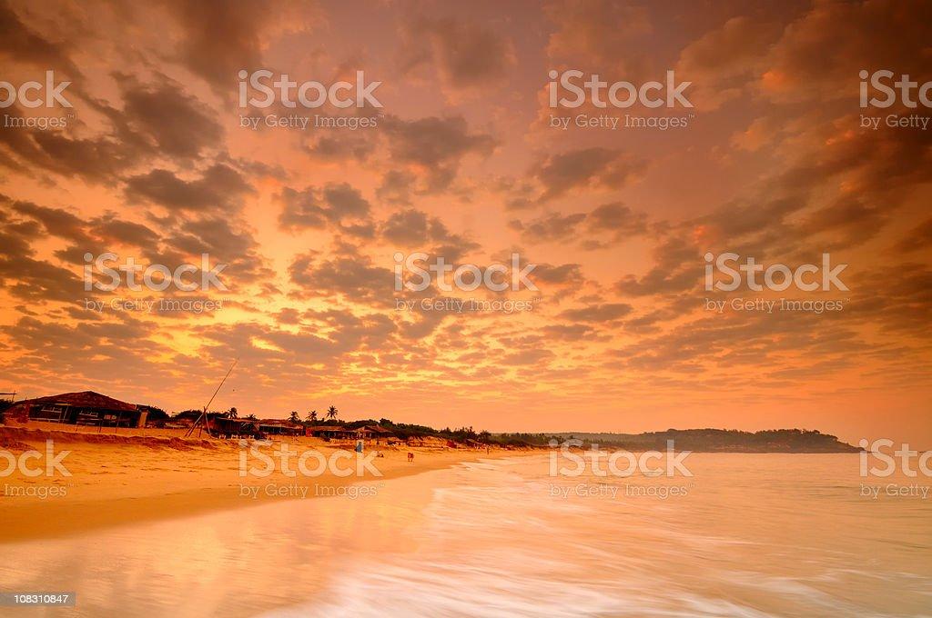 Sunrise Candolim Beach, Goa stock photo