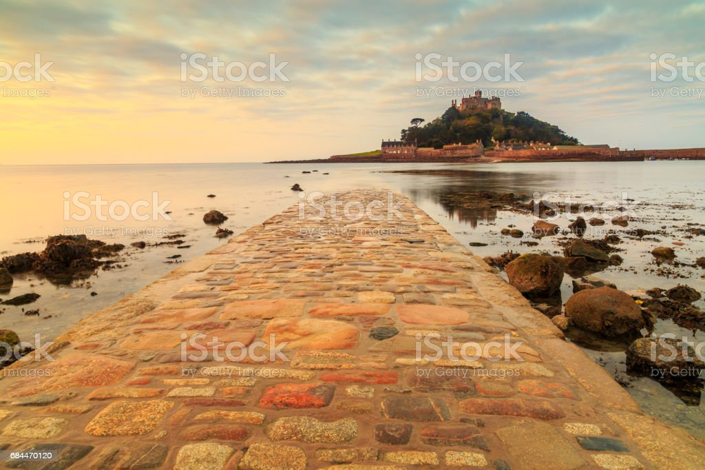 Sunrise causeway to St. Michael's Mount, Cornwall, England, UK stock photo