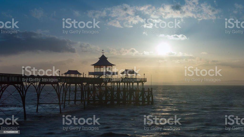 Sunrise Clevedon Pier England A stock photo