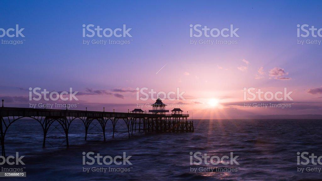 Sunrise Clevedon Pier England D stock photo