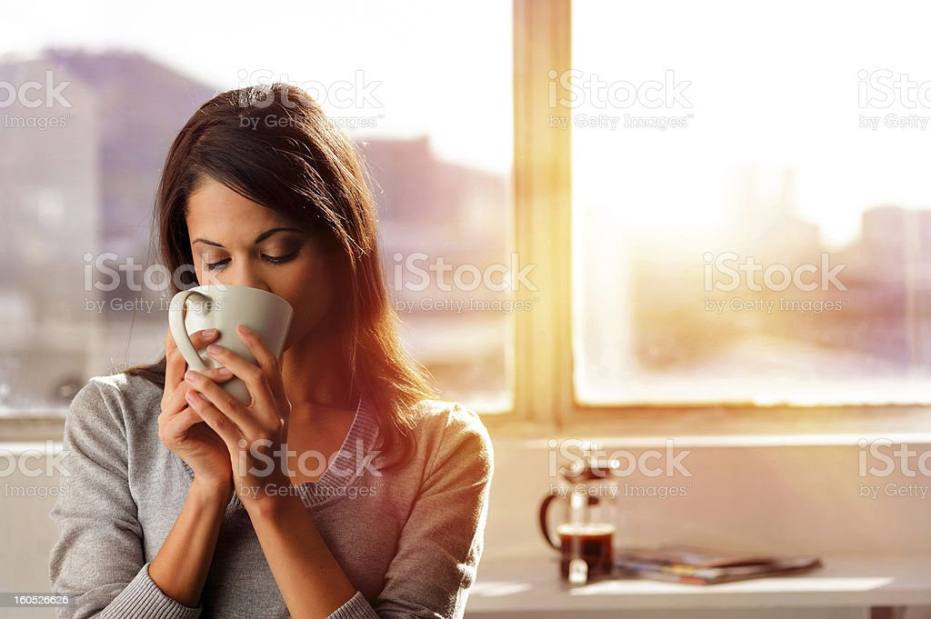sunrise coffee woman stock photo