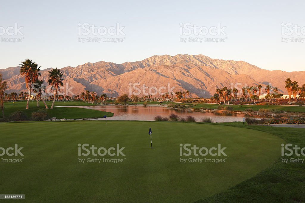 Sunrise Desert Landscape Of A Golf Course royalty-free stock photo