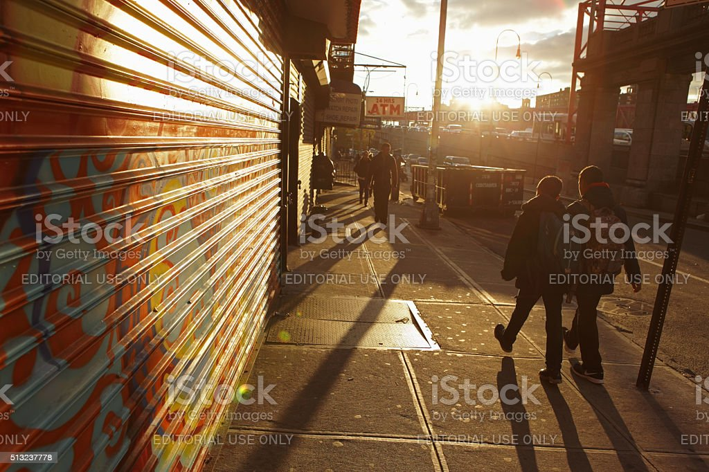 Sunrise down Delancey Street on a New York City morning stock photo