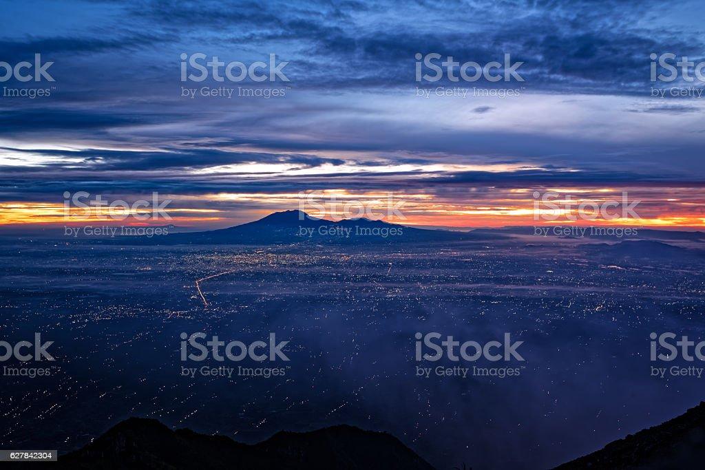 Sunrise Eastern view from Merapi summit stock photo