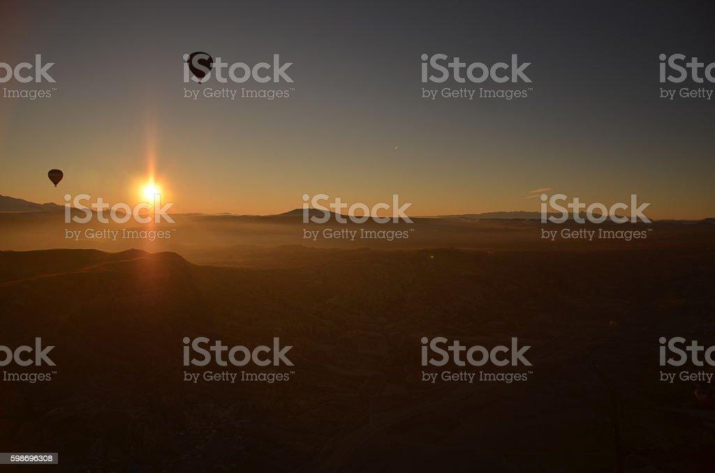 Sunrise Flyer, Hot Air Balloon stock photo