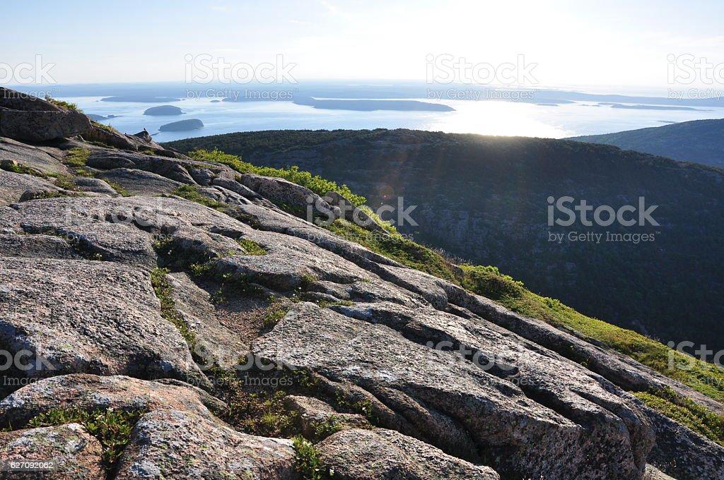 Sunrise from Cadillac Mountain, Acadia National Park stock photo