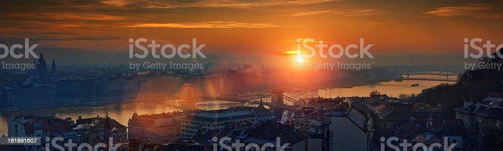 Sunrise from Fisherman's Bastion stock photo