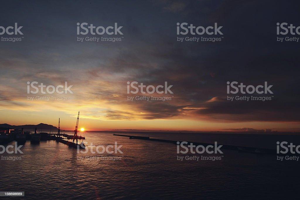 sunrise from genova stock photo