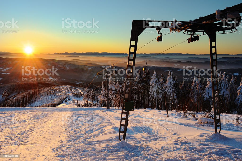 sunrise from hill Lysa hora in Beskydy stock photo