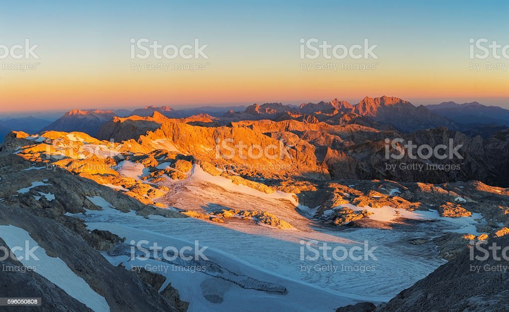Sunrise from Mountain Hochkönig in Alps with Watzmann in background stock photo
