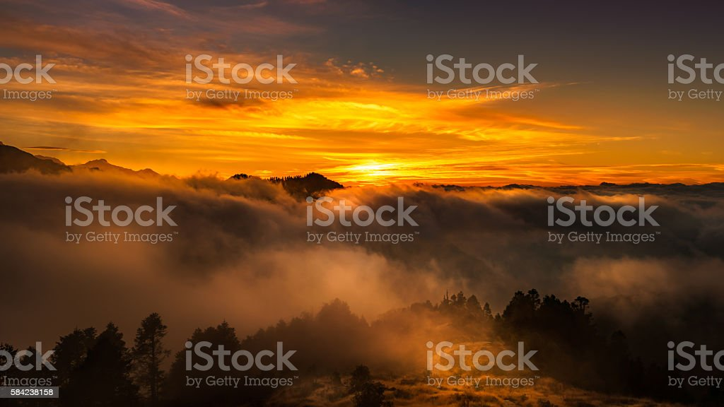 Sunrise from Poonhill, Nepal stock photo