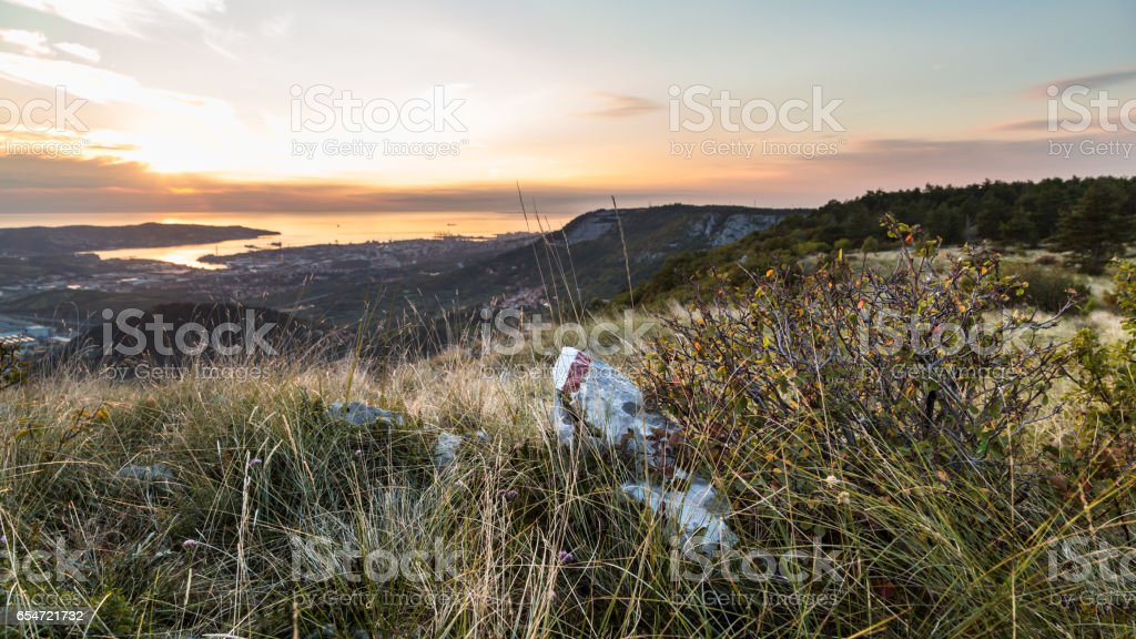 Sunrise from the hills stock photo
