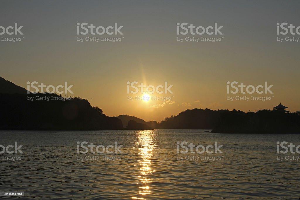 Sunrise from the sea, in Tomonoura, Japan stock photo