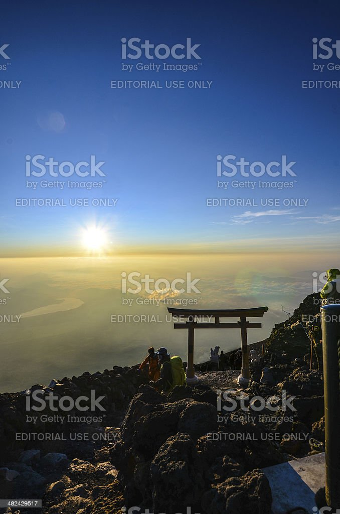 Sunrise from the top of Mt. Fuji royalty-free stock photo