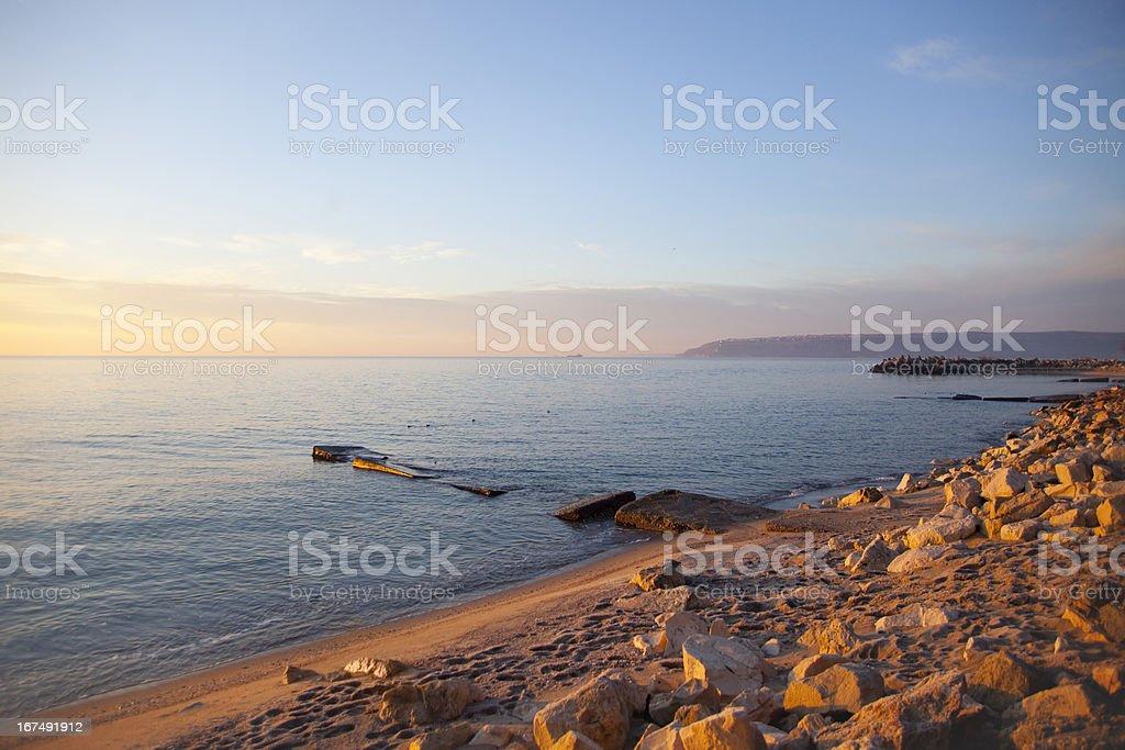 Sunrise from Varna bay royalty-free stock photo