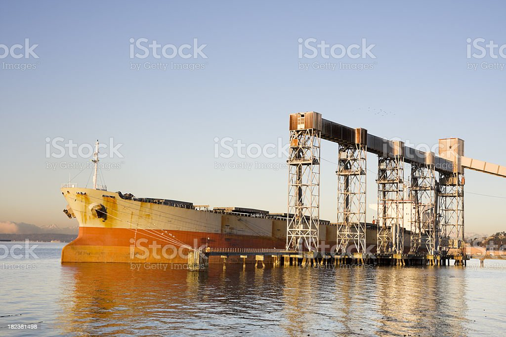 Sunrise Grain Ship Loading royalty-free stock photo