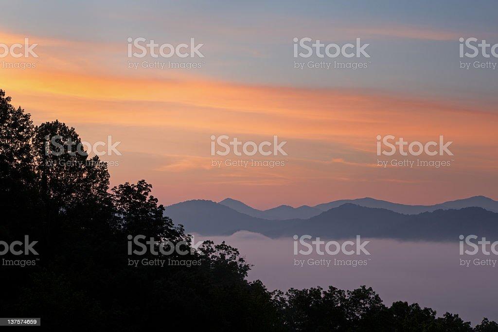 Sunrise Great Smoky Mountains stock photo