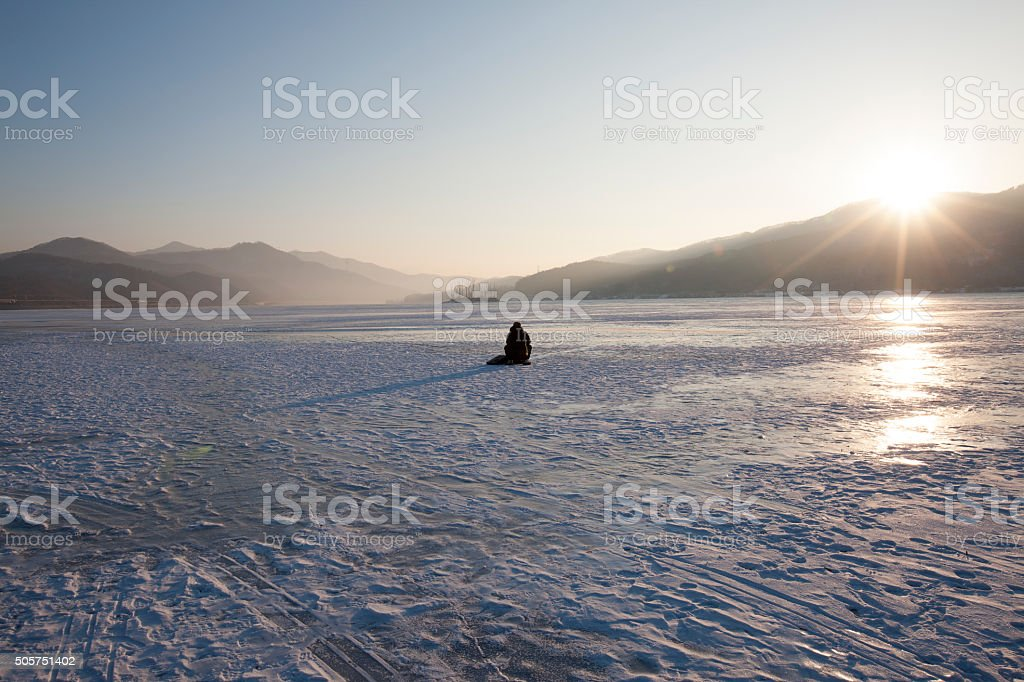 sunrise, han river, back view stock photo