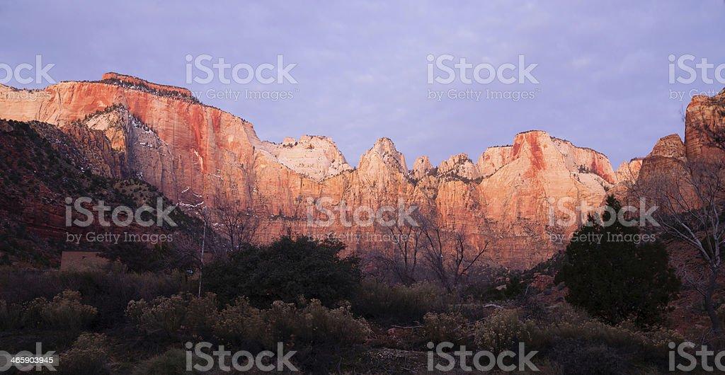 Sunrise High Mountain Buttes Zion National Park Desert Southwest stock photo