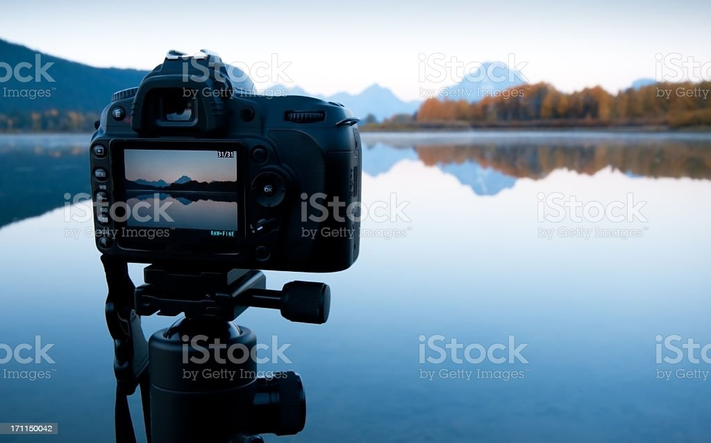 Sunrise Image in LCD - Oxbow Bend, GTNP stock photo