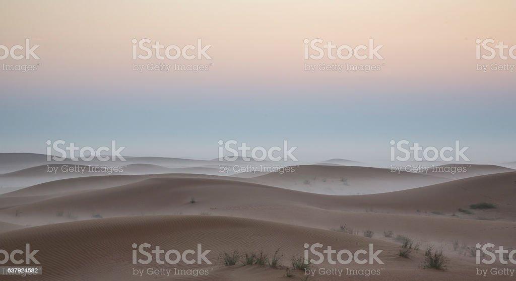 Sunrise in a desert near Dubai stock photo