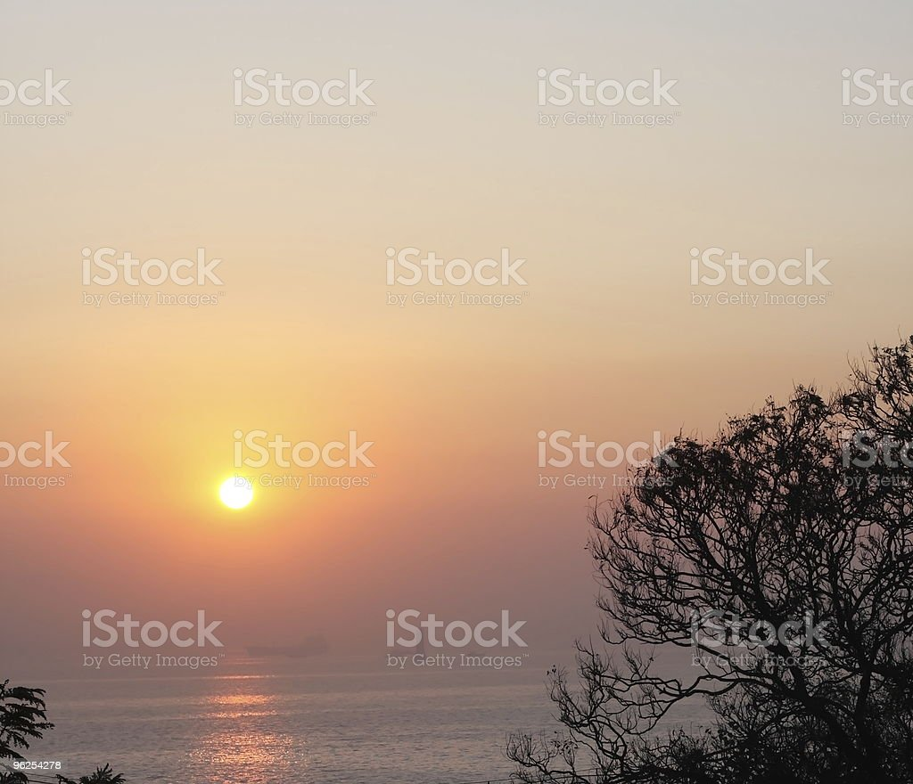 sunrise in a harbour royalty-free stock photo