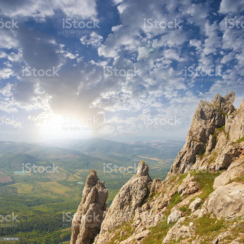 sunrise in a mountains royalty-free stock photo