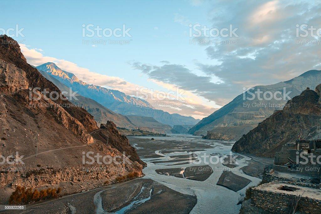 Sunrise in a river Cali Gandaki valley stock photo
