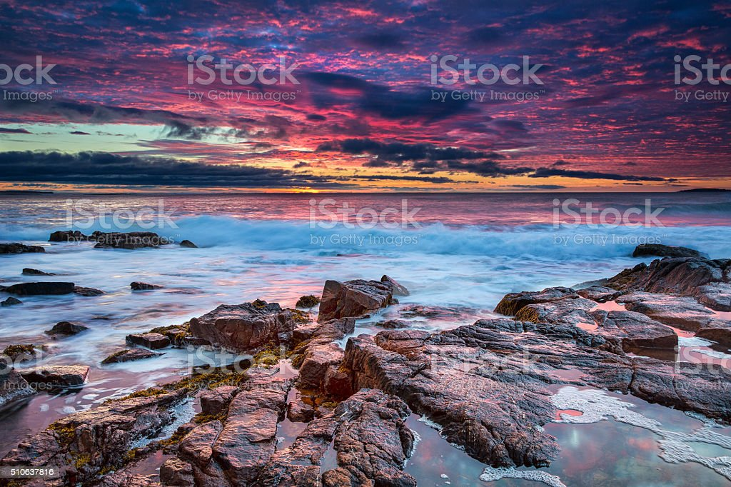 Sunrise in Acadia National Park, Maine stock photo