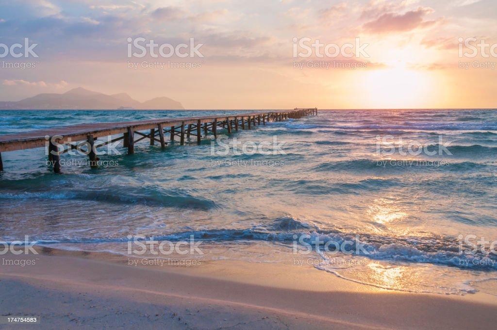 Sunrise in Alcudia stock photo