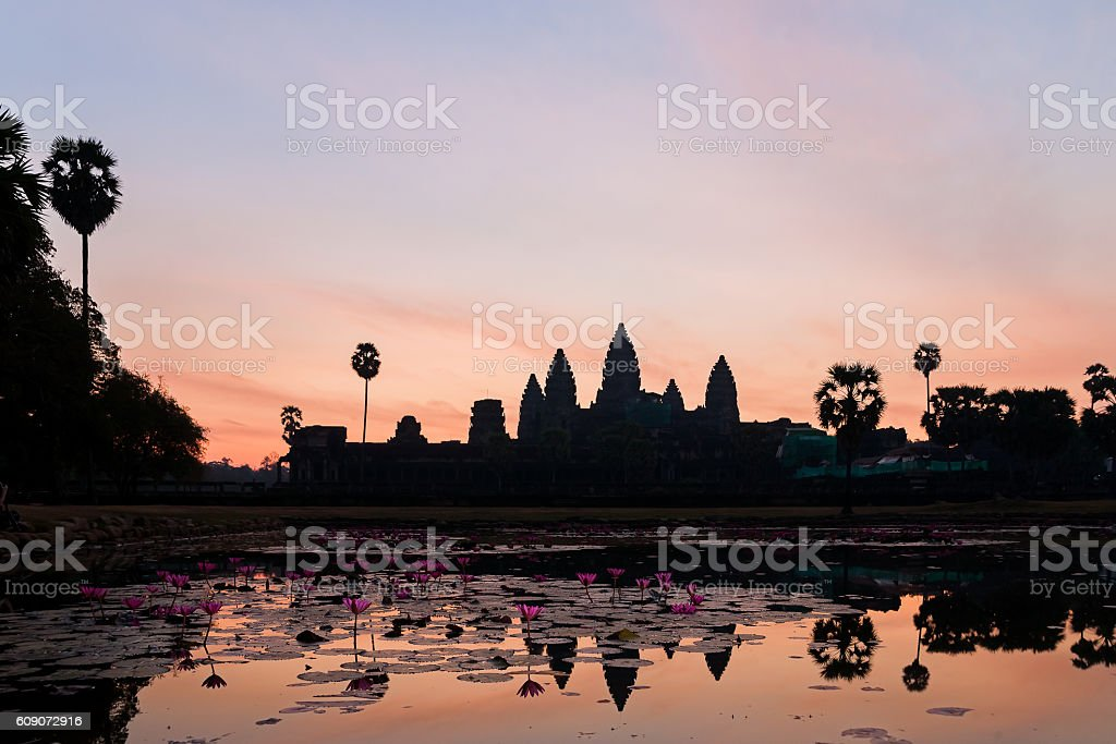 Sunrise in Angkor Wat, temple complex in Cambodia stock photo