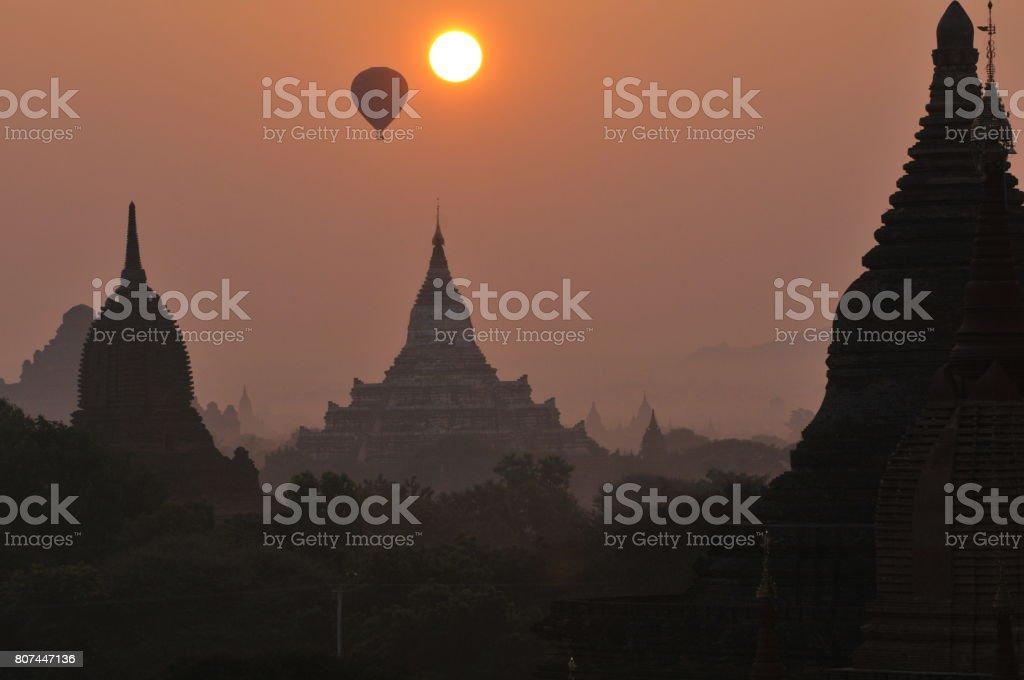 Sunrise in Bagan, Myanmar stock photo
