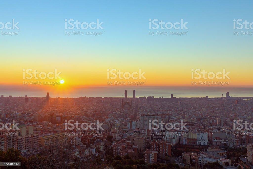 Sunrise in Barcelona stock photo