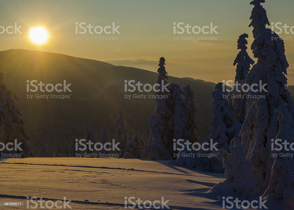 Sunrise in Beskidy mountains royalty-free stock photo