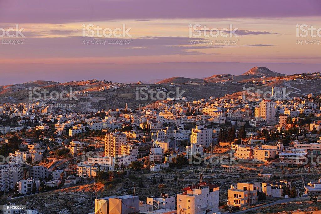 Sunrise in Bethlehem city stock photo