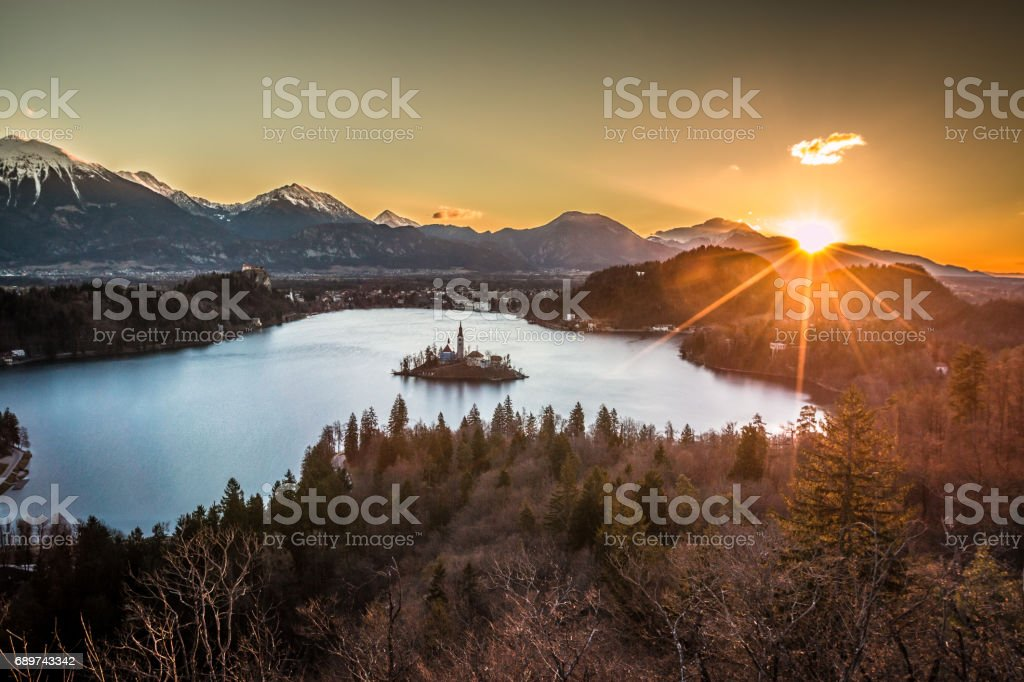 Sunrise in Bled stock photo