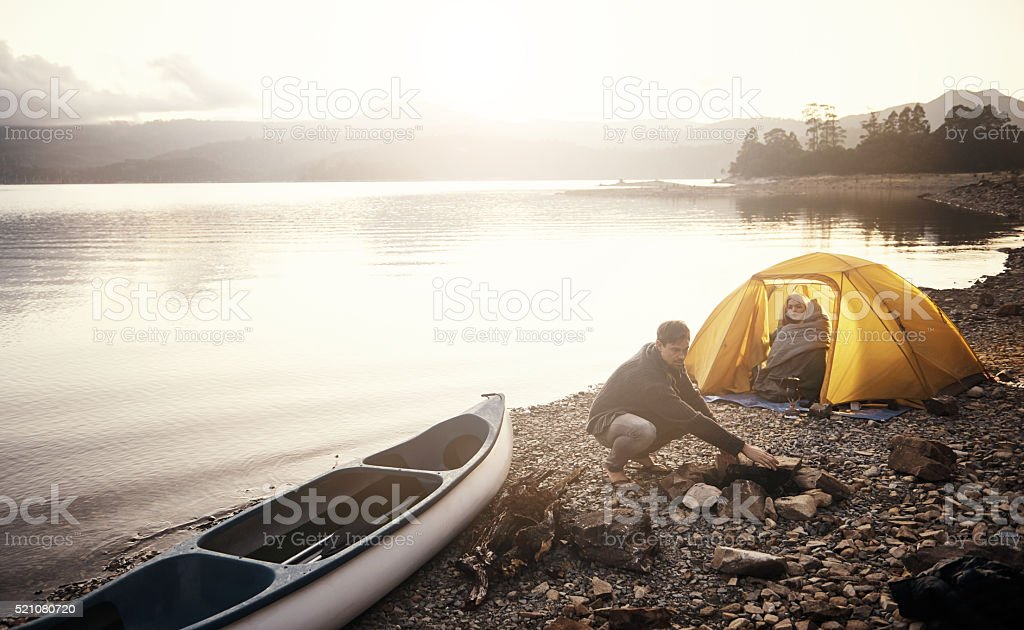 Sunrise in camp stock photo