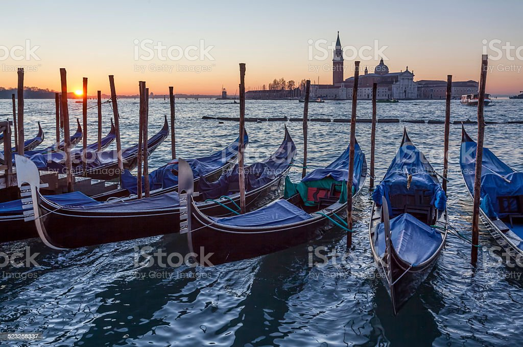 Sunrise in canal of Venice, Italy stock photo
