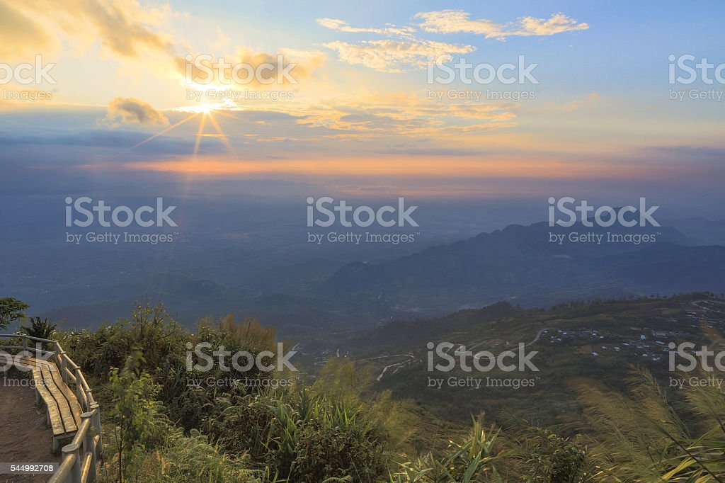 Sunrise in cloudy morning stock photo