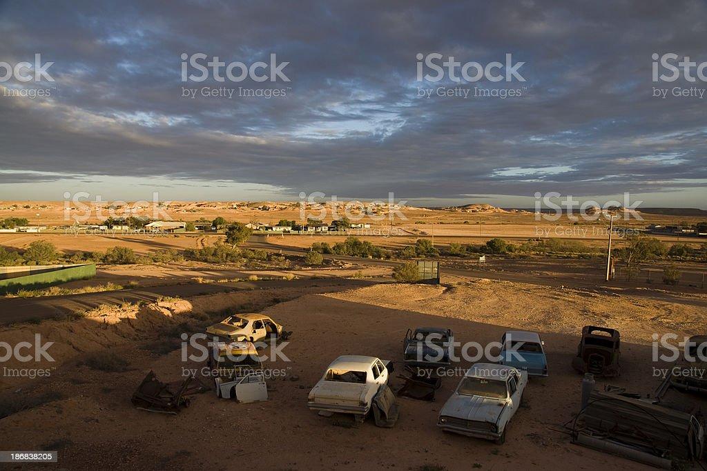 Sunrise in Coober Pedy stock photo