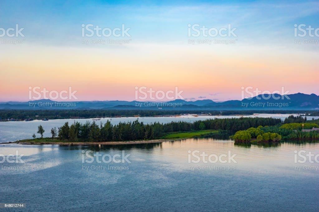 Sunrise in Cuadai river, Vietnam landscape stock photo