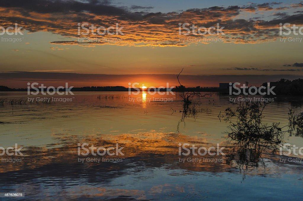 Sunrise in Danube Delta royalty-free stock photo