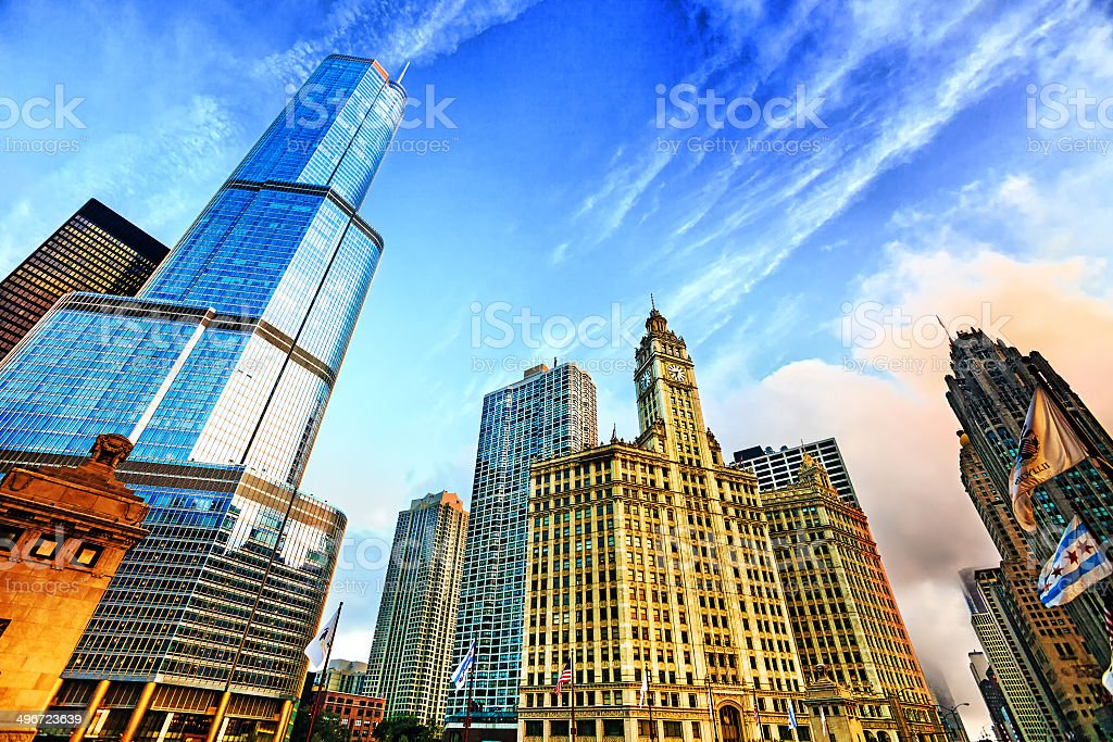 Sunrise in downtown Chicago stock photo