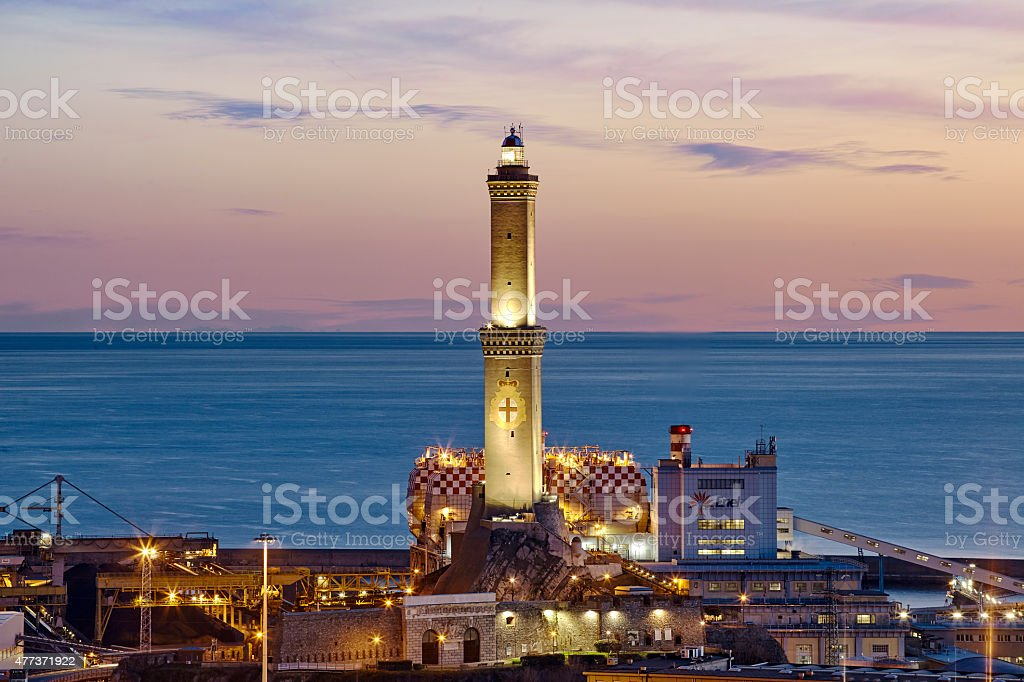 sunrise in Genoa, Italy stock photo