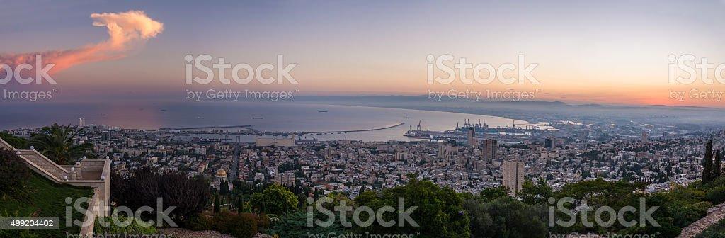 Sunrise in Haifa from Louis Promenade stock photo